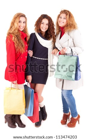 Young and beautiful women with shopping bags - stock photo