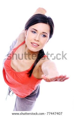 Young and beutiful woman doing yoga exercises - stock photo