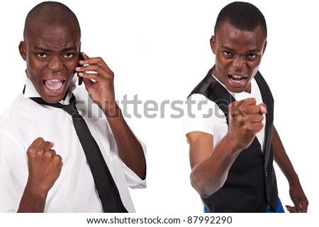 young and black man holding phone and looking bad - stock photo