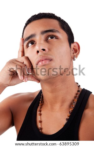 young and handsome latin man, with hand holding the face - thinking, isolated on white, studio shot - stock photo