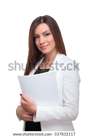 Young and happy businesswoman - stock photo