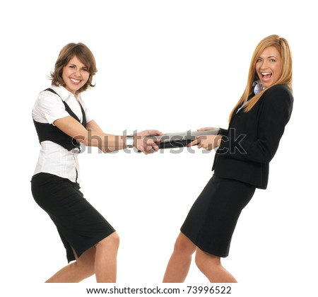 Young and sexy business women are fighting isolated on white - stock photo