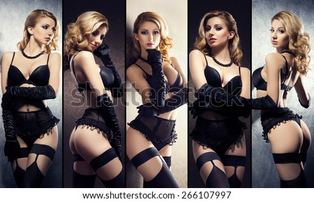 Young and sexy girls in erotic underwear. Lingerie collection. - stock photo