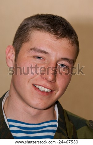 Young and strong russian solder - stock photo