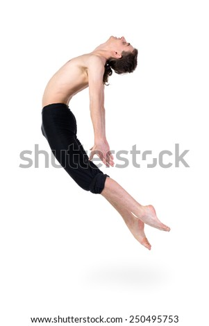 young and stylish modern ballet dancer jumping,  full length portrait isolated over white background - stock photo