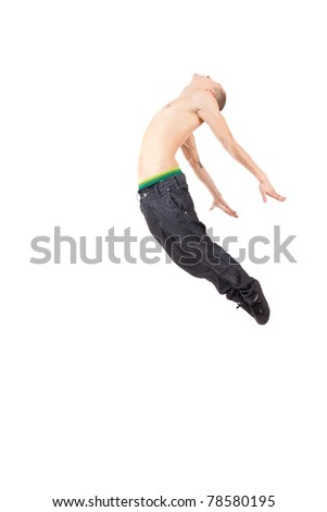young and stylish modern ballet dancer jumping on white background - stock photo