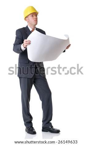 Young and successful architect. Full isolated studio picture - stock photo
