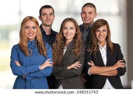 Young and successful business team - stock photo