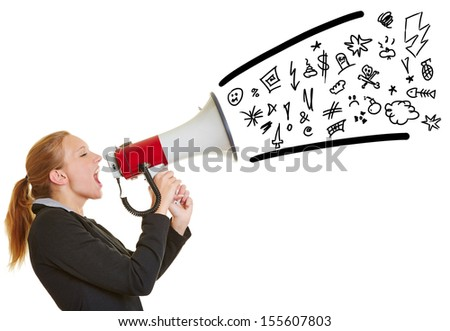 Young angry business woman ranting in a megaphone with symbols coming out - stock photo