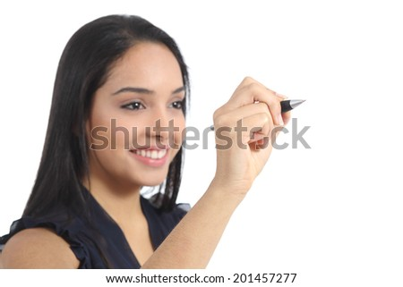 Young arab woman writing on the air isolated on a white background                 - stock photo