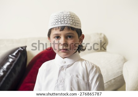 Young Arabian Kid at home  - stock photo