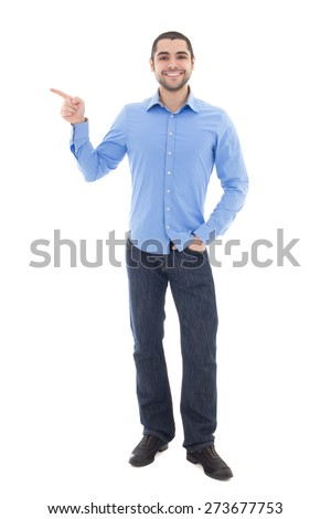 young arabic business man in blue shirt showing on something isolated on white background - stock photo