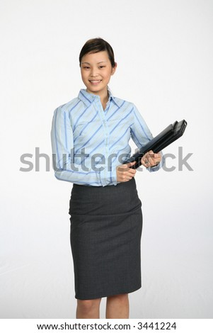 Young Asian Business woman photographed over white - stock photo
