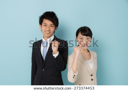 young asian businessman and businesswoman  - stock photo