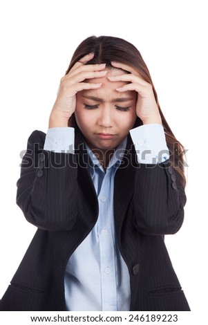 Young Asian businesswoman got sick and headache  isolated on white background - stock photo