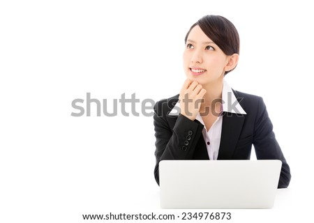 young asian businesswoman isolated on white background - stock photo