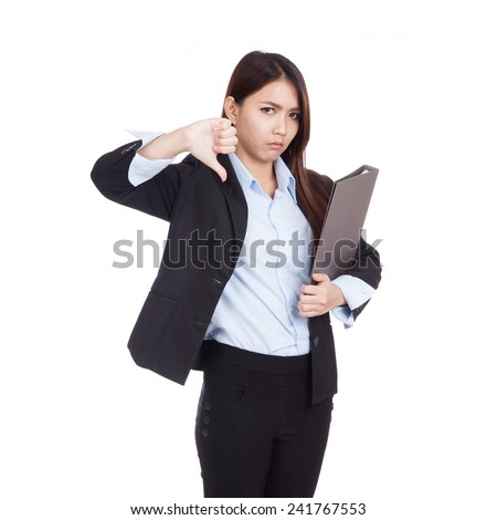 http://thumb101.shutterstock.com/display_pic_with_logo/795103/241767553/stock-photo-young-asian-businesswoman-thumbs-down-with-folder-isolated-on-white-background-241767553.jpg