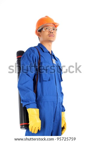 young asian engineer with drawings case and complete personal protective equipment standing isolated on white background - stock photo