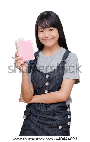 Young asian girl reading book over white - stock photo
