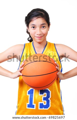 young asian lady basketball player.white background.high key - stock photo
