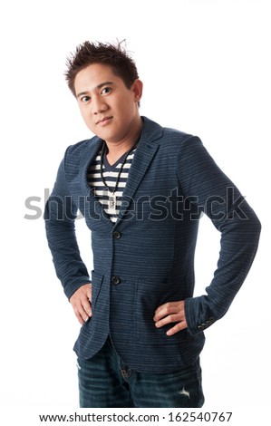 Young Asian man isolated on white background - stock photo
