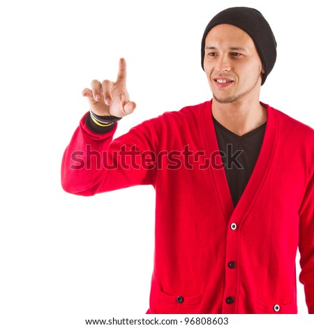 Young asian man showing and looking at different points in the white copyspace. - stock photo
