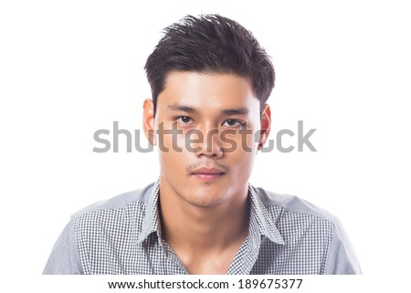 Young asian man smiling isolated over a white background - stock photo