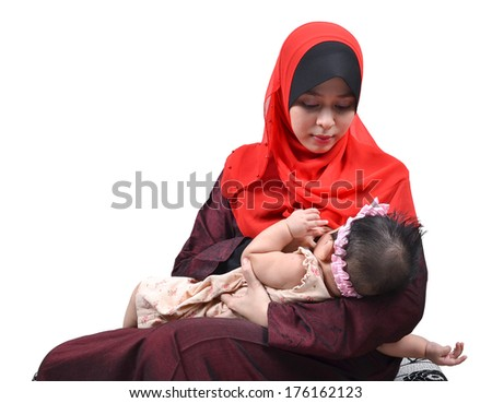Young Asian muslim mother breastfeeding her cute baby girl isolated on white background - stock photo