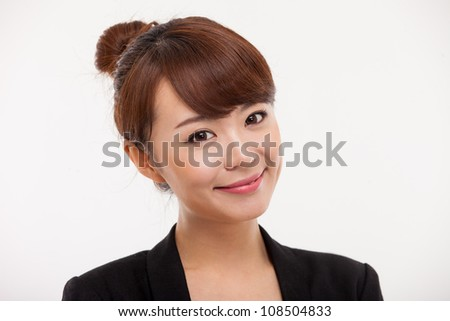 Young Asian pretty business woman close up portrait . - stock photo