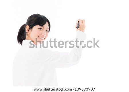 young asian woman wearing white coat on white background - stock photo