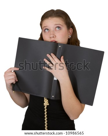 Young assistant over white - stock photo