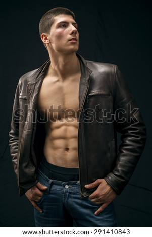 Young athlete male fashion model  - stock photo