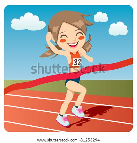 Young athlete woman winning Olympic games sprint race competition - stock photo