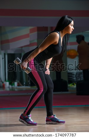 Young athletic woman exercising with dumbbells - stock photo