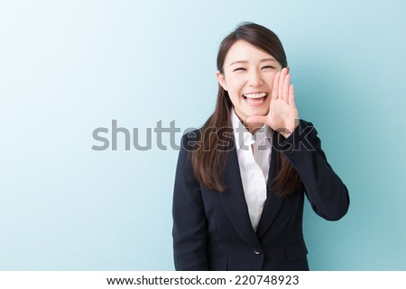 young attractive asian woman to support - stock photo