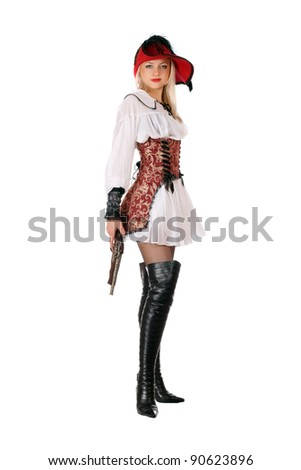 Young attractive blonde with gun dressed as pirates - stock photo