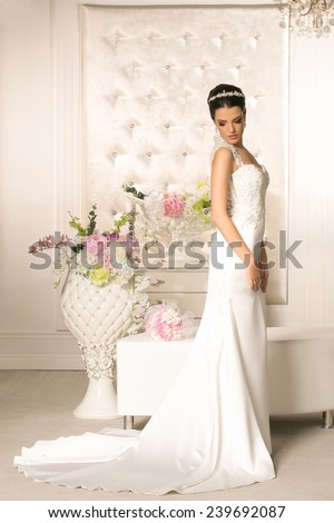 Young attractive bride in wedding dress - stock photo