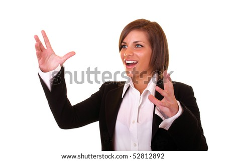 young attractive brunette businesswoman with hands up - stock photo
