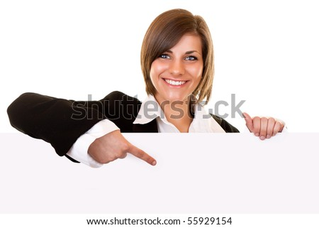 young attractive brunette girl holding big blank paper - stock photo
