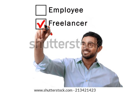 young attractive business man choosing freelancer to employee at formular ticking box with red marker isolated on white background , self-employed versus company salary, freelance working concept - stock photo