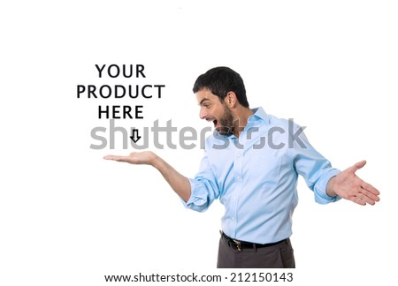 young attractive business man showing blank copy space above palm hand for client to add product or text, looking happy and excited isolated on white background wearing blue shirt and suit pants - stock photo