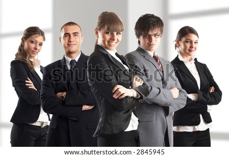 Young attractive business people - the elite dream team - stock photo