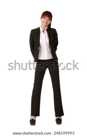 Young attractive business woman of Asian, full length portrait on white. - stock photo