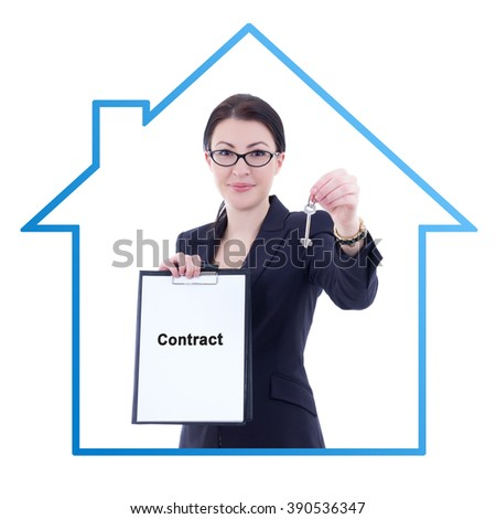 young attractive business woman real estate agent showing contract and metal key isolated on white background - stock photo
