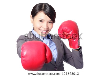 young attractive business woman with boxing gloves are ready for battle, punching towards camera isolated on white background, beautiful asian female model - stock photo