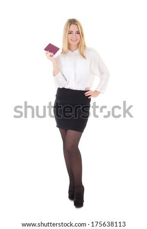 young attractive business woman with passport and ticket isolated on white background - stock photo