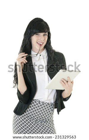 Young attractive business woman working with digital tablet isolated on white background - stock photo