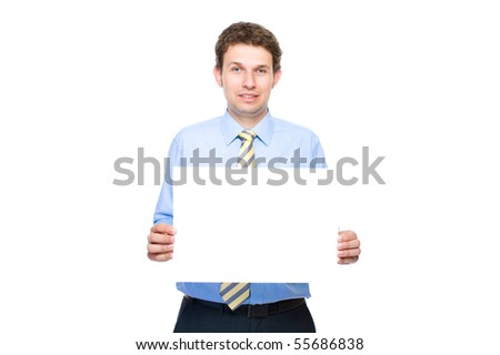 young attractive businessman holds empty, blank copyspace card, studio shoot isolated on white background - stock photo