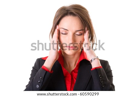 young attractive businesswoman holds her head, pain concept, studio shoot isolated on white - stock photo