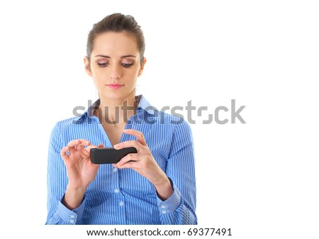 young attractive businesswoman use her smartphone, isolated on white - stock photo